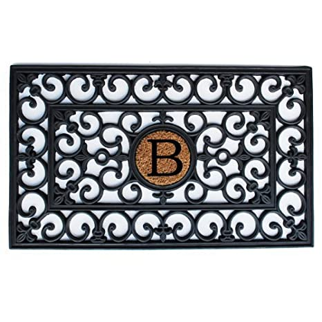 Home And More 100 Percent Rubber Monogrammed Doormat Letter B, 18u0026quot; X  30u0026quot