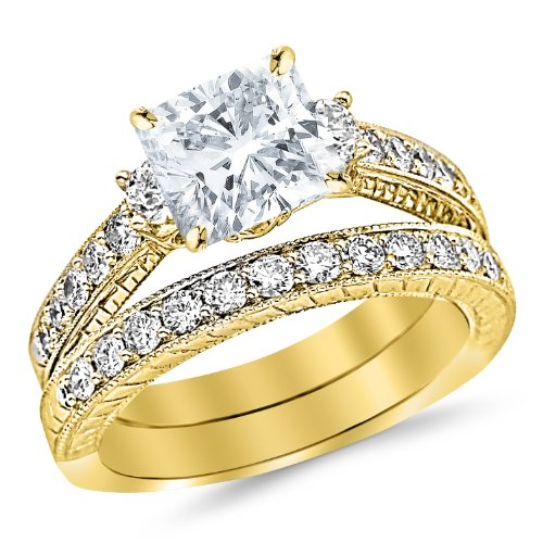 Yellow Gold Three Stone Vintage Milgrain & Filigree Bridal Set Wedding Band & Diamond Engagement Ring a 0.7 Carat GIA Certified Cushion Cut F Color VS2 Clarity Center Stone