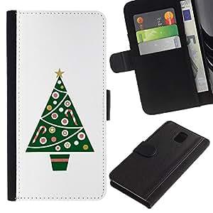 SAMSUNG Galaxy Note 3 III / N9000 / N9005 Modelo colorido cuero carpeta tirón caso cubierta piel Holster Funda protección - Tree Minimalist White Winter