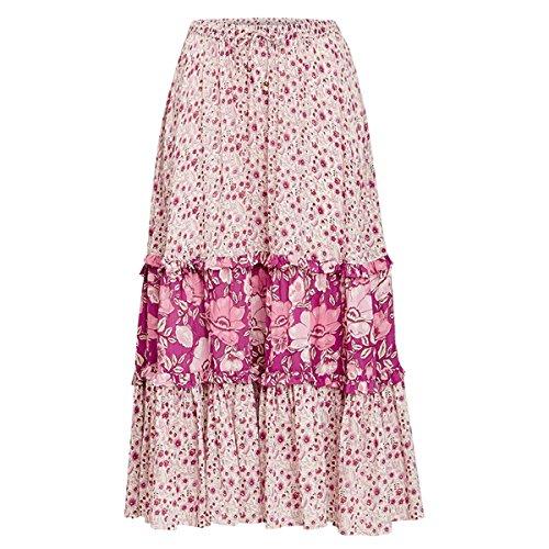 R.Vivimos Womens Summer Cotton Vintage Floral Print Boho Casual Long Skirt (Large, Light Pink)