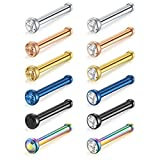 MODRSA 18G 12pcs Surgical Steel Nose Studs 2mm Clear Colorful Round CZ Bone Pin Nose Rings Piercing Jewelry