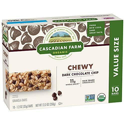 Cascadian Farm Chewy Granola Bar Organic non-GMO Chocolate Chip 10, 1.2 oz Bars