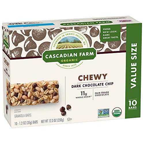 Cascadian Farm Chewy Granola Bar Organic non-GMO Chocolate Chip 10, 1.2 oz Bars
