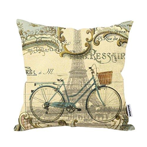 Throw Pillows With Bikes : Decorbox Vintage Bike Throw Pillow Case Bicycle Cushion Cover Pillowcase Gift Anniversary ...