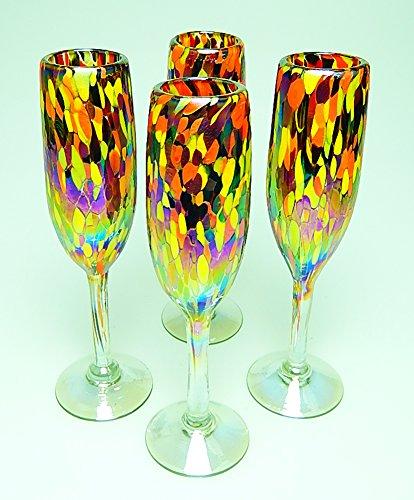 - Champagne Flutes Hand Blown Glass Iridescent Multi Color Confetti, Set of 4