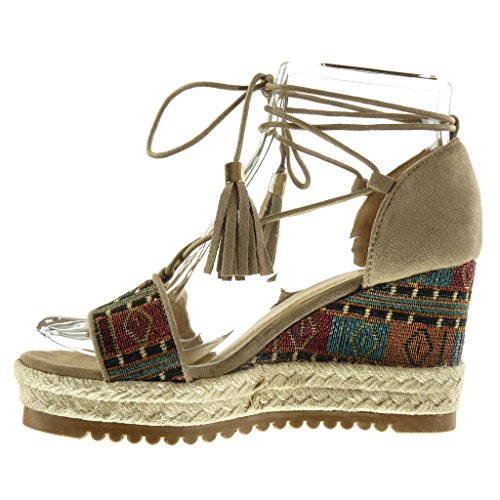 Angkorly - Scarpe da Moda sandali Mules zeppe aperto donna ricamo frange corda Tacco zeppa piattaforma 9 CM - Khaki