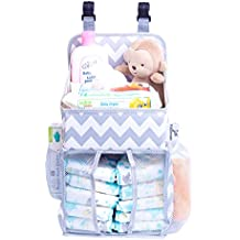 Hanging Diaper Caddy Baby Essentials Organizer For Crib, Playard And Changing Table, Side Mesh Pockets Storage Bag Liner Holder Stacker Chevron Pattern Grey And White For Boys And Girls By Fatpanda