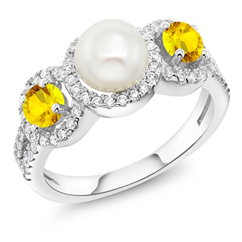 1.52 Ct Round Cultured Freshwater Pearl Yellow Sapphire 925 Sterling Silver Ring by Gem Stone King