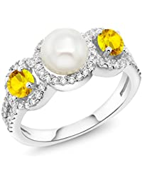 1.52 Ct Round Cultured Freshwater Pearl Yellow Sapphire 925 Sterling Silver Ring
