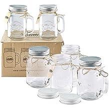 Smith's Mason Jars 6 x 16oz Mason Jar Mugs with Lids, Great Mason Jar Old Fashioned Glasses.