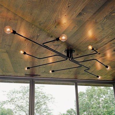ding Industrial Edison Bulb Wrought Iron 8 Light Large Semi Flush Ceiling Light in Black