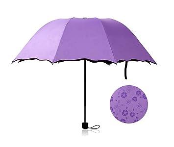 Demarkt – ultraligero sol paraguas, sombrilla de protección UV pequeño negro 3 plegable paraguas grandes