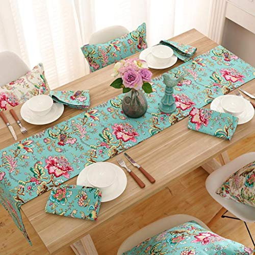 US-ROGEWIN Table Runners Modern Chinese Style Beautiful Flower Elegant Cotton Refined Bed Flag Tablecloth Household Decor]()