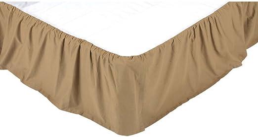 NAVY CHECK King Bed Skirt Dust Ruffle Cotton Blue//Khaki Farmhouse VHC Brands