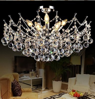 GOWE Modern Crystal Chandelier Light Fixture Chandeliers Lustres de Para Sala Techo Cristal Lighting Fixture Home Deco Lampshade Color:red