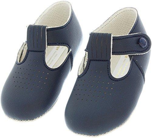 Lujo británico hecho bebé chico Estilo de hebilla cream/marfil cielo azul marino azul bautizo Boda fiesta zapatos