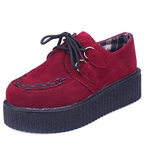 Britannique Creeper à Chaussures Vin Lacet Femme Rouge Rétro Style SIMPVALE 6XEPqY6
