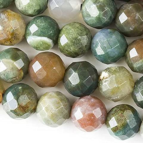 Cherry Blossom Beads Large Hole 2.5mm Drilled Fancy Jasper Beads 12mm Faceted Round - 8 Inch Strand (Beads Large Assortment)