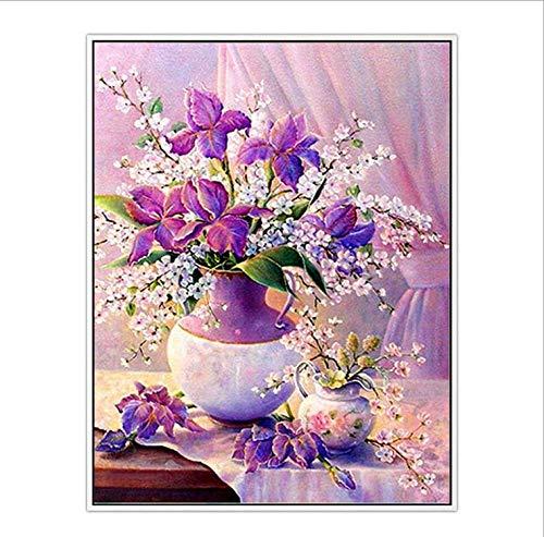 Bitoufou 5D Diamond Painting Purple Vase DIY Point Stick Diamond Cross Stitch Flower Restaurant Bedroom 50x60