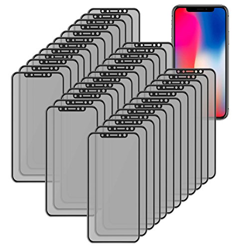 Apple iPhone X Screen Protector [Durable Tempered Glass/ Privacy Protected] 30PK Fully Covered Anti Spy 3D Tempered Glass for Apple iPhone X, iPhone 10 by SOJITEK by Sojitek