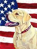 Caroline's Treasures LH9008CHF USA American Flag with Labrador Flag Canvas, Large, Multicolor