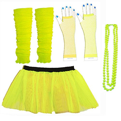 Leg Warmers In The 80s (Kids Neon Colours UV Tutu Gloves Leg Warmers and Beads 1980s Fancy Dress (Yellow))