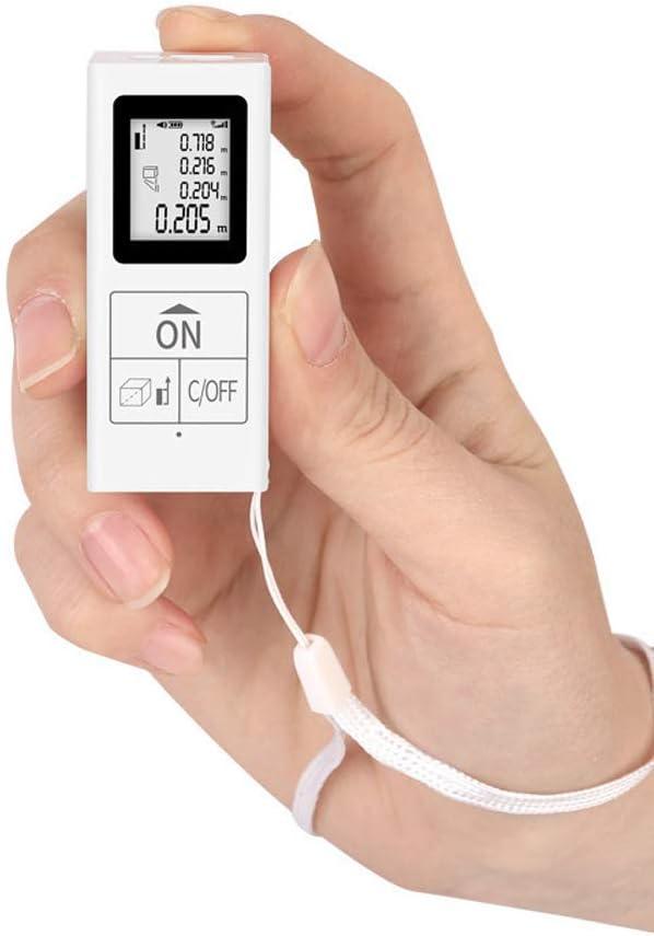 AUEDC Medidor de Distancia láser Digital, Mini retroiluminación portátil Pantalla HD Medición de Distancia Herramienta de medición de Distancia láser para medición de Volumen y pitagórica