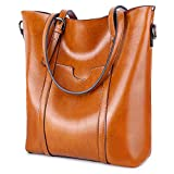 YALUXE Women's Vintage Style Soft Leather Work Tote High Style Shoulder Bag for Women brown