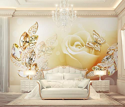 Wallpaper Leaf Cream - Murwall Floral Wallpaper Gold Leaf Wall Mural Cream Rose Wall Print Jewelry Home Decor Cafe Design Living Room Bedroom