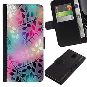 NEECELL GIFT forCITY // Billetera de cuero Caso Cubierta de protección Carcasa / Leather Wallet Case for Samsung Galaxy Note 3 III // PASTEL NEON Modelo de la hoja