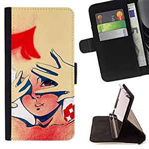 DEVIL CASE - FOR Sony Xperia M2 - Pin Up Girl Woman Face Potrait Art Drawing - Style PU Leather Case Wallet Flip Stand Flap Closure Cover