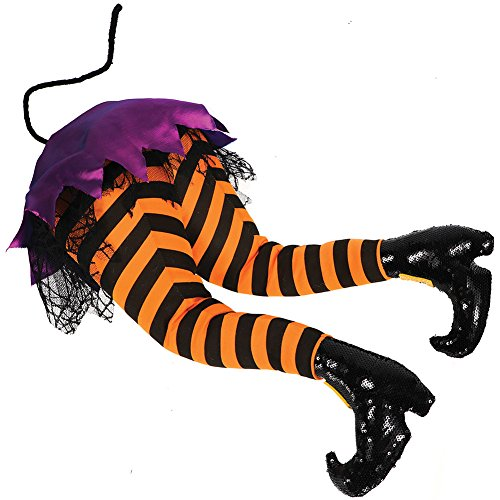 Witches' Butt Posable Plush Halloween Prop w/ Flexible Striped & Booted Legs