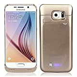 S6 Battery Case,Caka 4200 Mah Backup External Battery Charger Case Rechargeable Power Bank Case for Samsung Galaxy S6 with Kickstand - (Gold)