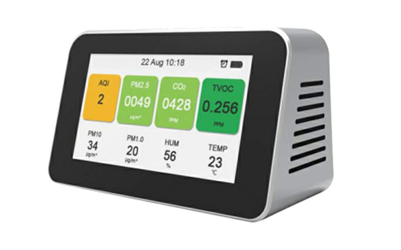 Multifunktions-Luftanalysator JUZEN Luftqualit/ätsdetektor Staub PM2.5 Analysentester CO2 Mit Uhrfunktion Benzol Kohlendioxid Wei/ß