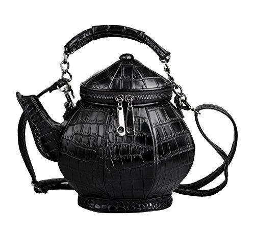 Fanova Super Cool Black Personalized Teapot Handbag Fashion Crack Pattern Women PU Shoulder Cross Body Bags Tote