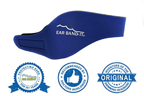 Ear Band-It Swimming Headband - Invented by Physician - Keep Water Out, Hold Ear Plugs In - The ORIGINAL Swimmer's Headband - Doctor Recommended - Secure Earplugs (Blue, Large (ages 10-adult)) by Ear Band-It