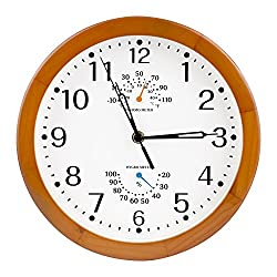 Egundo Wooden Wall Cock 10-Inch Silent Quartz Movement Battery Operated Temperature (C/F) Humidity Small Round Classic Bebdroom Kitchen Living Room Decoration (Brown)