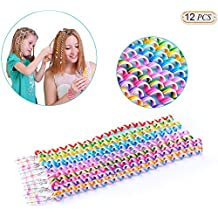 Hisight 12pcs Spiral Hair Rope Women Girl Hair Styling Twister Clip Hair Headwear with Crystal Pendant DIY Braider Tool beaded Party Favor Hair Design Rainbow Roller Curler. (Trichromatic mixture)