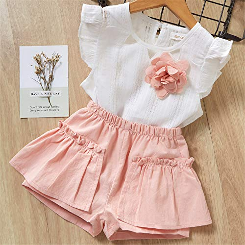 Summer Children 2019 Cute Flower Flower Children's Clothing Set 2 Pieces 2T Pink -