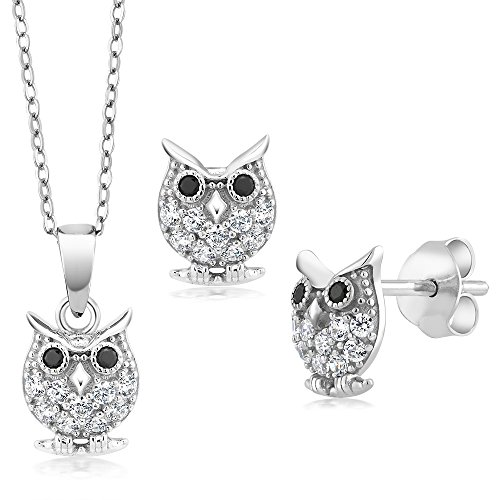 925 Sterling Silver Owl Pendant & Earring Set With 18 Inch Chain Made With Swarovski Zirconia