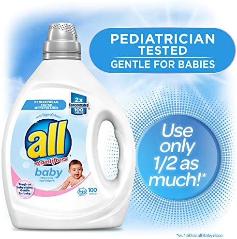 51XA92M9zXL. AC - All Liquid Laundry Detergent, Gentle For Baby, 2X Concentrated, 100 Loads