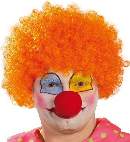 - Ladies Mens Adult Orange Afro Wig Circus Clown Fancy Dress Costume Outfit Accessory Hair