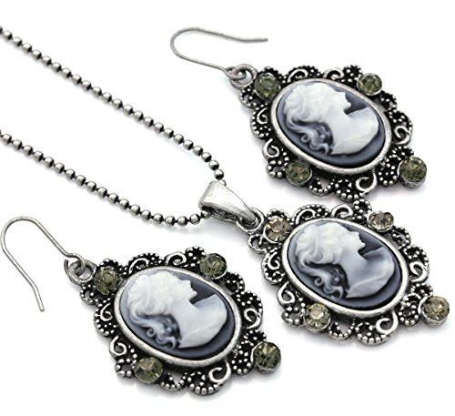 Soulbreezecollection Cameo Necklace Fashion Jewelry Set Pendant Charm Dangle Drop Earrings Gift for Women (Grey)