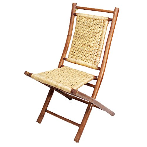 Heather Ann Creations Isla Collection Bohemian Folding Chair With Arrow Weave, Pack of 2, (Natural Wood Folding Chair)