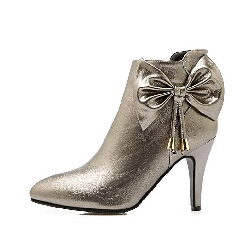 AdeeSu Girls Spun Gold Bowknot Stiletto Mule Imitated Leather Boots Silver orBn2