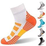 RANDY SUN Skiing Socks, Breathable Waterproof Fashion Socks Dri Fit Moisture-Wicking Socks Multisport Unisex Socks, 1 Pair-Orange-Ankle Socks,Small
