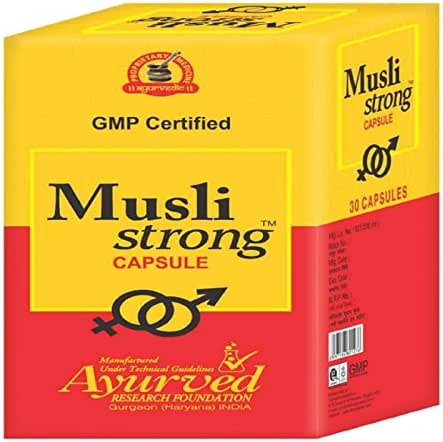 Ayurved Research Foundation Musli Strong Capsule Herbal Remedy for Low Energy and Stamina in Men 2 Packs of 30 Capsules