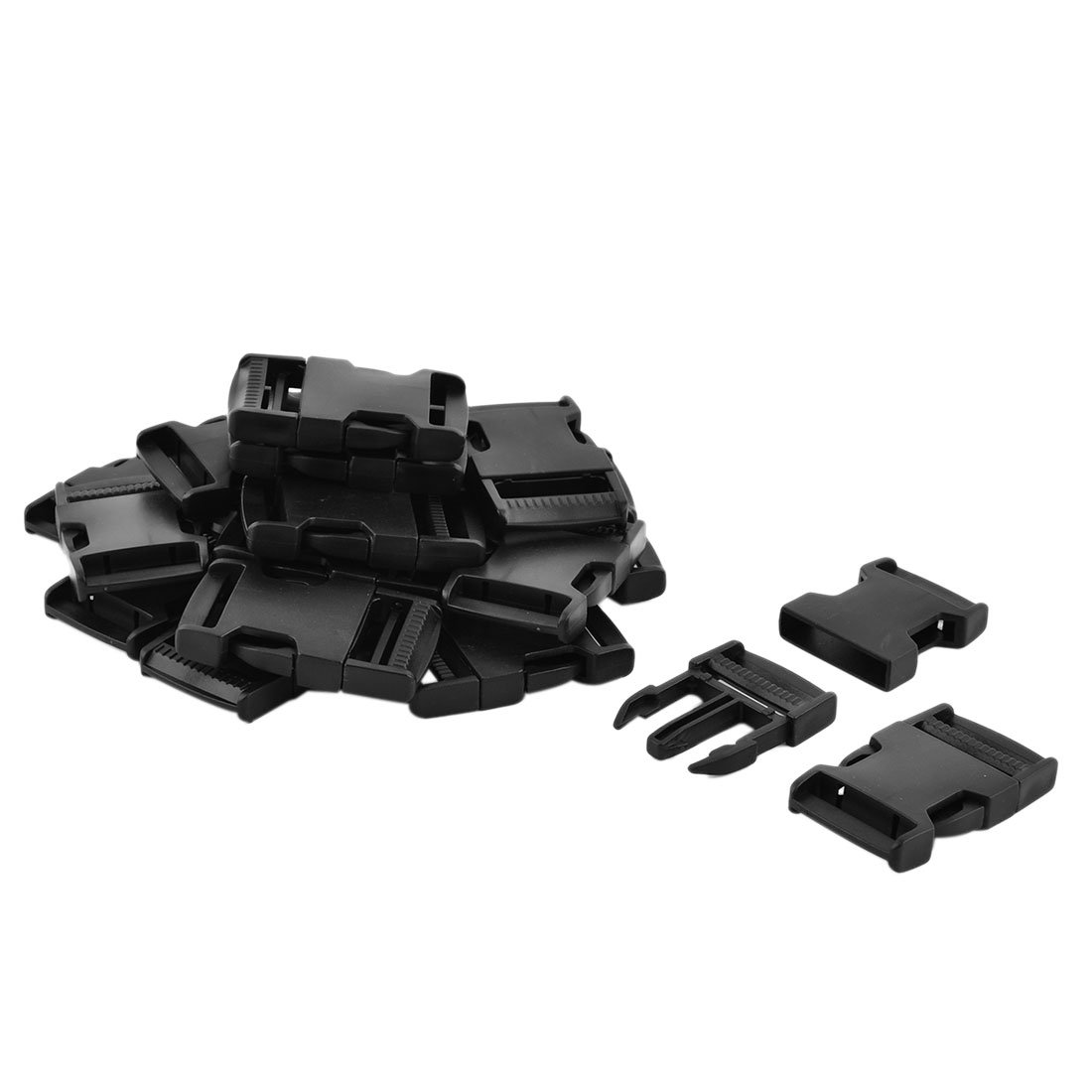uxcell Plastic Backpack Luggage Safety Belt Side Release Buckles 6.7cm Long 20pcs Black