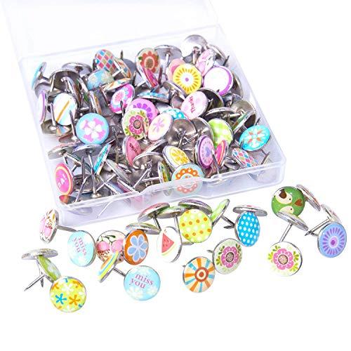 120 Pieces Creative Thumb Tacks Drawing Push Pins Decorative Metal Pins for Wall, Bulletin Boards, Photos, Maps and Cork Boards (Metal Push Pins Decorative)