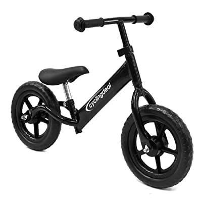 CyclingDeal Kids Sports Child Push Balance Glider Bike Walking Bicycle for Boys & Girls 12 Inch for 18 Month 2 3 4 5 Years Old Toddlers with Footrest Aluminum Alloy Rim Rubber tire Black: Toys & Games
